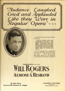 Will Rogers Almost a Husband Film Daily